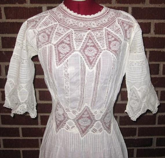 Antique Cotton Edwardian White Lace Dress