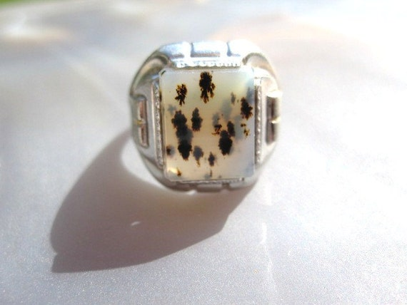 1920s Art Deco Moss agate and Sterling Ring - Sz 8.5