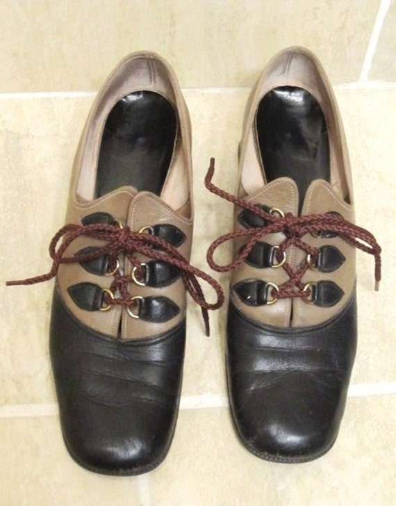 Vintage Black and Taupe Women's Leather Heeled Shoe- 8.5