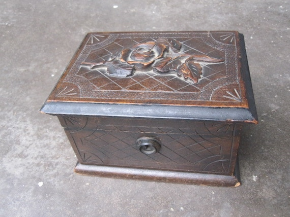 Reserved for apickerseye - Antique Carved Wooden Box