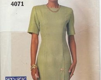 Butterick 4071, Easy, Fitted, Side Front Button Opening Dress 12-14-16
