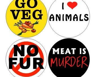 Vegetarian pinback buttons set