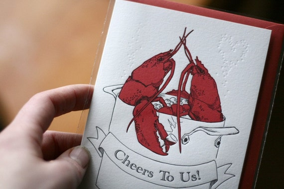 Valentine Love Lobsters Letterpress Card