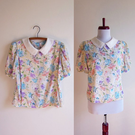 Vintage 1980s Blouse / Spring Pastel Floral PETER PAN Collar Blouse / Size Small