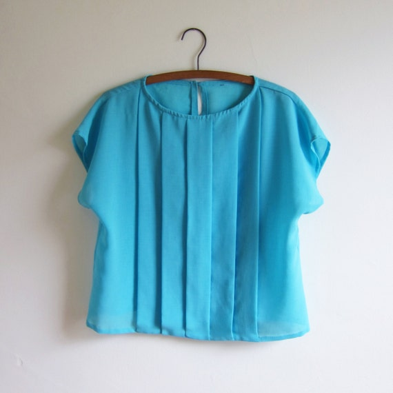 Vintage 1980s Blouse / TROPICAL Turquoise Blue Pleated Slouch Blouse / Size Small or Medium