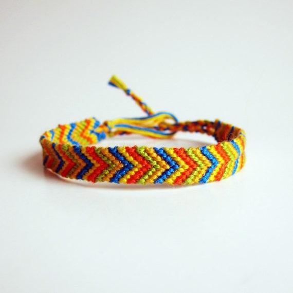 Vintage 1990s Friendship Bracelet / CITRUS CHEVRON Bracelet