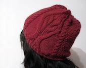Vintage Inspired Hat in Burgundy - Alpaca 100 percent