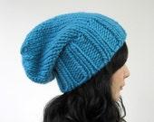Chunky Slouch Hat in Turquoise - Wool 100 Percent