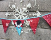 Reusable Fabric Bunting / Flags / Pennants Oriental design Fabric red