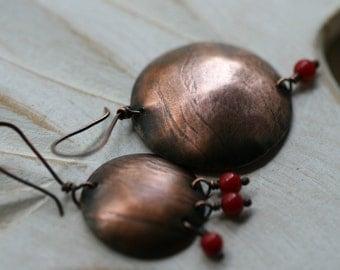 Assymetrical earrings-mistmach, asymmetrical, solid copper, rustic, bohemian,discs