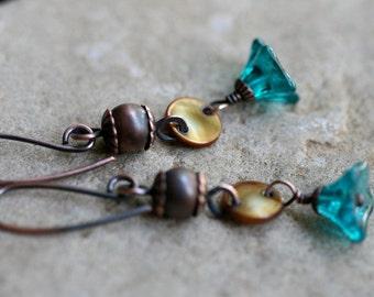 rustic czech flower . bohemian . boho simple earrings-rustic,sale,clearance,solid copper,bohemian,boho,cute,floral,mother of pearl,garden