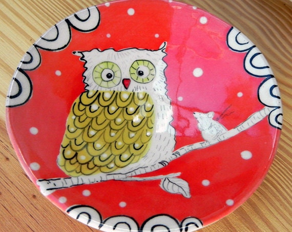 Owl & Mouse Plate, Gift for Her, Mother's Day,