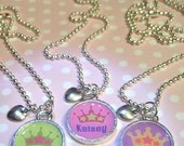 Princess Crown Necklaces- Personalized - Your Choice of One Color
