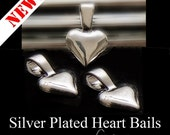 NEW - Heart Shaped Bails - 25 Small Bails - Silver Plated - Glue On - Perfect for Scrabble Tiles, Glass Tiles, Dominoes and More