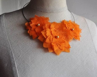 SALE -3 in 1 Fabric Flower Accessories in Orange Color - Necklace - Headband - Brooch (Ready To Ship)