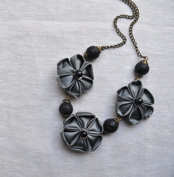 Grey Silk Fabric Flower Necklace - Ready To Ship