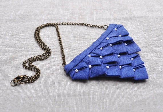 Blue Origami Fabric Necklace (Ready To Ship)