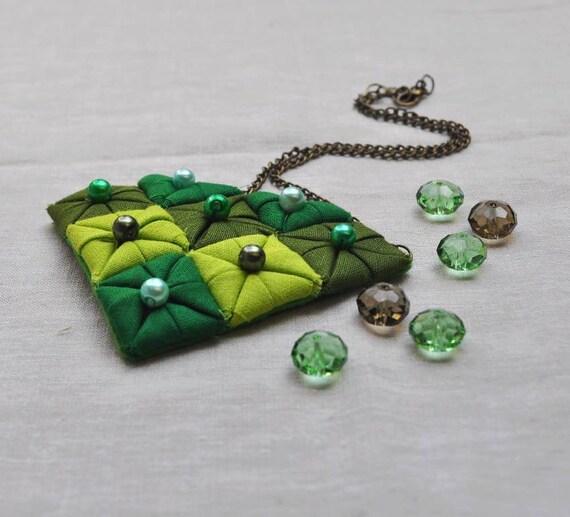 Green Diamond Fabric Origami Necklace -  (Ready To Ship)