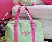 Monogrammed Lime Green and Hot Pink Weekender Bag