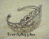 2 pcs, Silver Plated Diamond Filigree Cuff Bracelet, Nickel free