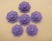 6 pcs Amethyst Purple Big Rose and Small Daisies Cabochon (017-06)