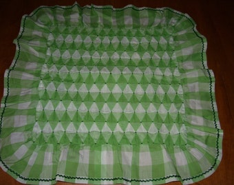 EXCELLENT Vintage Pillow Cover Green Gingham