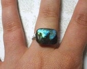Handmade Wire Wrapped Rectangle Labradorite Sterling Plated Ring