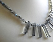 Necklace with Blue Flash Labradorite and Smoky Quartz Crystal Points