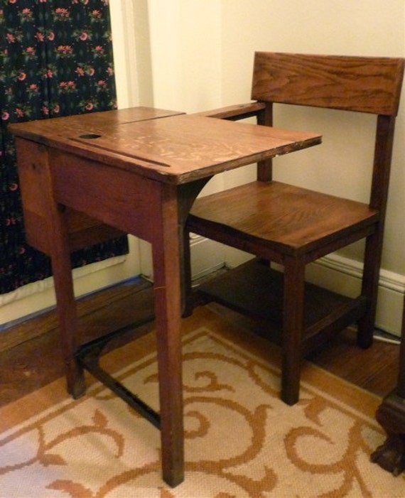 unique antique oak school desk 87974