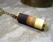 Contemporary Stripe Necklace Chocolate Tan Biscuit One of a Kind-Morning Coffee