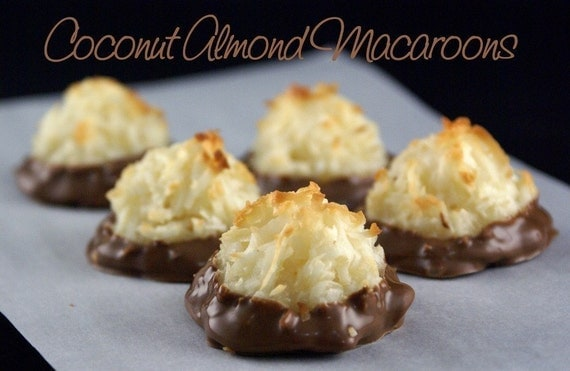 Dipped Coconut Almond Macaroons-8 Cookies