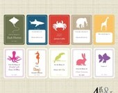 Set of 24 Personalized Animal Bookplates