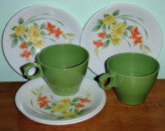 vintage kitsch ... MELMAC 4 Floral PLATES and 2 Tea CUPS