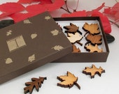 SALE!   Mini Wood Leaf Ornament Gift Box Set of 12 - Sustainable Harvest Wisconsin Wood . Timber Green Woods