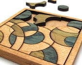 Blue and Green Circles Puzzle - Hand Colored Oak Pieces . Timber Green Woods
