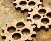 Steampunk Clock Gear Minis - Wisconsin Oak Wood Charms by Timber Green Woods