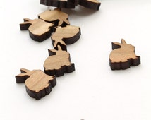 Spring Mini Bunny Charms - Itsies - Laser Cut Wood Rabbits  . Timber Green Woods Sustainable Forestry Products