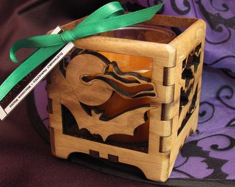 Bats Halloween Votive Candle Holder made from Sustainable Harvest Black Walnut Wood . Timber Green Woods