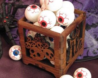 Halloween Skulls Wood Votive Candle Holder - Sustainable Black Walnut Wood . Timber Green Woods