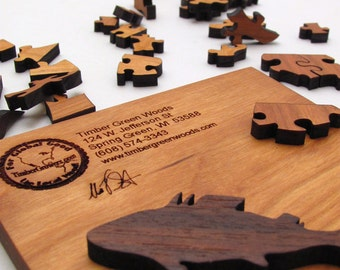 Mini Fish Puzzle . Black Cherry and Walnut Wooden Whimsy Jigsaw Puzzle - Food Safe Oil Finish . Timber Green Woods