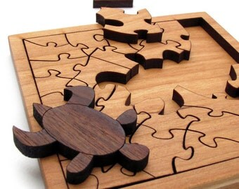 Mini Turtle Puzzle . Sustainable Harvest Black Cherry and Walnut - Food Safe Oil Finish . Timber Green Woods