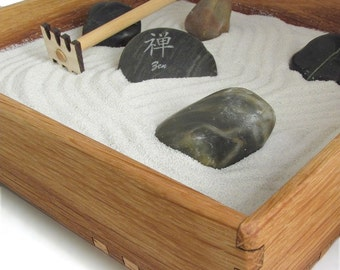 Mini Zen Garden - Karesansui with White Sand - Includes Rocks, Rake, and Zen Power Stone - Sustainable Harvest Oak Box