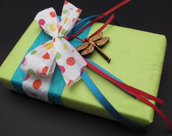 Birthday Surprise . Green, Blue with Polkadot Ribbon Eco Friendly Gift Wrap - Laser Cut Dragonfly Charm - Timber Green Woods