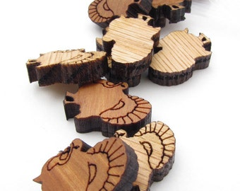 Thanksgiving Holiday Mini Turkey Charms - Pack of 15 pcs  - Itsies - Laser Cut Wood. Timber Green Woods Sustainable Wood Products