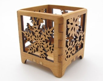 Winter Freeze Wood Snowflake Design Votive Candle Holder - Sustainable Harvest Wisconsin Black Cherry Wood . Timber Green Woods