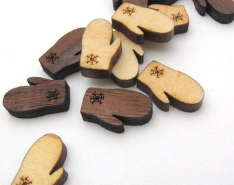 Winter Mitten Christmas Holiday Charms - Itsies - With Holes or Without. Timber Green Woods Sustainable Wood Products USA.