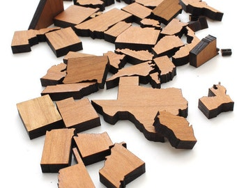 Mini United States Itsies - Set of 4 of State of Your Choice  - Holes or No Holes - Timber Green Woods Sustainable Forestry Products.
