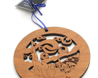 Van Gogh - Starry Night Fine Art Circle Ornament Collection by Timber Green Woods . Sustainable Harvest Wisconsin Wood