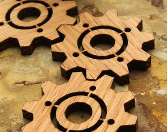 """Steampunk Clock Gear 1.5"""" with Center Cutout - pack of 15 - Wisconsin Oak Wood Charms by Timber Green Woods, U.S.A."""