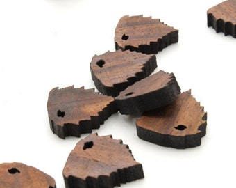 """Mini River Birch Leaf Beads or Charms- 3/4"""" Itsies - Walnut Wood. 15 pcs. Laser Cut Wood  Timber Green Woods Sustainable Forestry Products"""